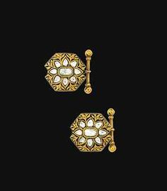 A pair of modern Indian diamond and enamel cufflinks  Each shaped octagonal plaque set to the front with cushion and pear-shaped rose-cut diamonds in foiled closed-back settings, to a reverse decorated with green and white enamel floral motifs, to chain-link connections and baton terminals, panels 19.5 x 18.0mm (2)