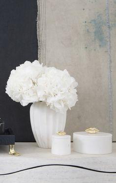 KELLY WEARSTLER | SMALL FLUTED VASE. Hand-sculpted marble vase