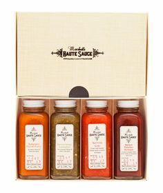 Marshall's Haute Sauce Gift Pack: Each variety—Habanero Carrot Curry, Serrano Ginger Lemongrass, Red Chili Lime, and Smoked Habanero Barbeque—pack major punch and bold flavor, despite having just a handful of ingredients.