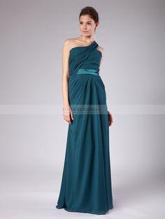 Gigi - Une épaule robe demoiselle d'honneur en mousseline de soie avec ceinture en satin