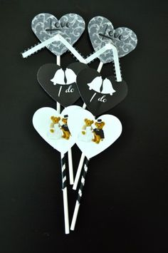 Heart Shaped Wedding Cupcake Toppers  by:-PINKTASTIK