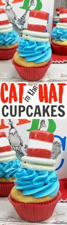 Inspired by the Dr. Seuss classic, these quirky Cat in the Hat Cupcakes are sure to be a hit with young readers! Perfect for school parties, birthdays, or celebrating Dr. Seuss Day! #drseuss #birthday #cupcakes