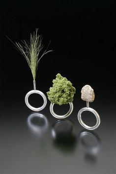 Sarah Hood Jewelry, Landscape Sample Rings,  2007, sterling silver, model railroad landscape materials