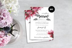 Beautiful Wedding Invitations, Printable Wedding Invitations, Printable Art, Printables, Diy Wedding, Wedding Ideas, Pink Flowers, Getting Married, Rsvp