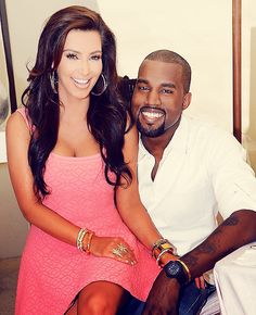 kim kardashian  Kanye West can't believe they are smiling!