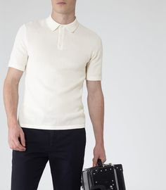 Mens Ecru Open Weave Polo Shirt - Reiss Hector