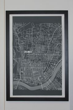 Cincinnati, Ohio City Map Canvas Poster - Circa 1939