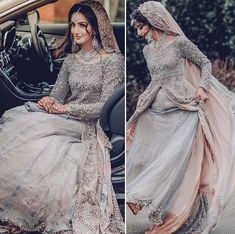 Pakistani bride in gray and pink lehenga Asian Bridal Dresses, Asian Wedding Dress, Pakistani Wedding Outfits, Pakistani Bridal Dresses, Pakistani Wedding Dresses, Bridal Outfits, Indian Dresses, Indian Outfits, Pakistani Wedding Hairstyles