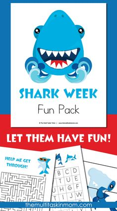 Kids will love working through this Shark Week Fun Pack this summer Whether as a fun unit study or later during Shark Week, this is a great way to let them learn more about these amazing creatures! www thriftyhomeschoolers com is part of Shark week kids - Shark Games For Kids, Shark Activities, Activities For Kids, Shark Week Crafts, Shark Craft, Shark Facts, Ocean Unit, Ocean Themes, Baby Shark