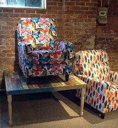 Bright, colorful patterns on upholstery. #HPMKT