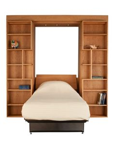 Twin Library Wall Bed in Natural Cherry
