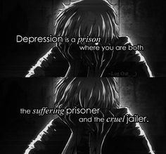 That voice in your head which keeps reminding you how f**ked up you Sad Anime Quotes, Manga Quotes, True Quotes, Deep Quotes, Jolie Phrase, My Demons, Depression Quotes, How I Feel, Tokyo Ghoul