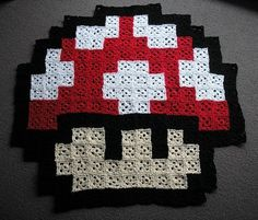 GRANNY SQUARE: pattern for the square and chart for this mushroom rug.