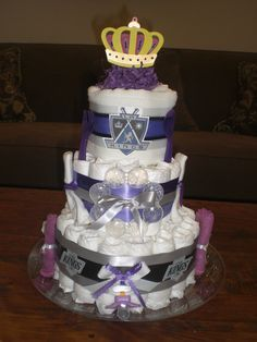 Items similar to La Kings Diaper Cake Baby Shower gift Hockey Baby on Etsy Baby Shower Cakes, Baby Boy Shower, Baby Shower Gifts, Baby Gifts, Baby Showers, Diaper Cake Boy, Cake Baby, Diaper Cakes, Duck Diapers