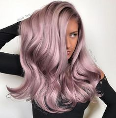 Big Curly Freestyle Hair Parting Synthetic Hair Lace Front Cap For Women Wigs 26 Inches – Jade Flores - Perm Hair Styles Lilac Hair, Hair Color Purple, Hair Color And Cut, Dusty Rose Hair, Metallic Hair Color, Pastel Hair Colors, Pink Grey Hair, Silver Purple Hair, Silver Lavender Hair