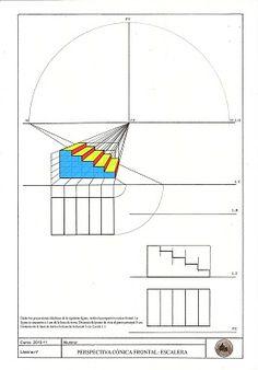 E. PLÁSTICA Y VISUAL 3ºESO: Lámina 24: Perspectiva cónica frontal: ESCALERA