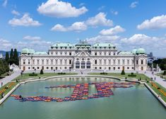 Chinese artist Ai Weiwei has arranged 1,005 life jackets from refugees into the shape of lotus flowers for a floating installation in Vienna