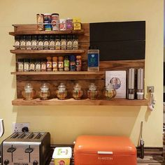 Spice rack shelf unit with Blackboard