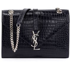 Saint Laurent Monogram Medium Crocodile-Embossed Envelope Chain... (666.880 HUF) ❤ liked on Polyvore featuring bags, handbags, shoulder bags, wine, chain purse, chain strap shoulder bag, yves saint laurent handbags, crocodile purse and chain strap handbag