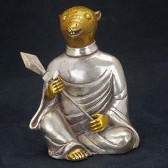 Chinese mixed metal zodiac figure of a rat with spear 19th century