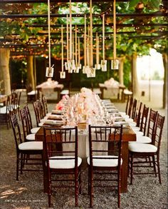 Wooden tables with beautiful canopy overhead