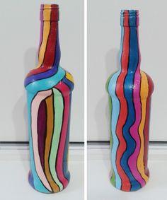Garrafas de vidro pintadas à mão Garrafa pintada  Garrafa decorada
