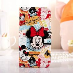 Disney Cute Leather Flip Wallet Case For iPhone 6 Plus Bowknot