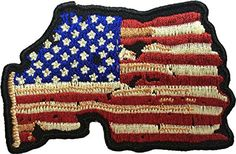 Map USA American Flag Vintage Shape Sew Iron on Applique Embroidered Emblem Badge Patch By Ranger Return (IRON-USA-MAP-VINT) -- Awesome products selected by Anna Churchill