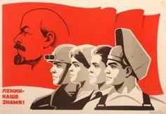 Lenin is Our Banner, 1973 - original vintage Soviet propaganda poster by V. Kopylov listed on AntikBar.co.uk