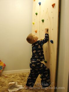 Awesome kid present... a climbing wall in their room. Plywood and rock climbing holds. Pretty sweet. Now I just need a niece or nephew... or a monkey I suppose
