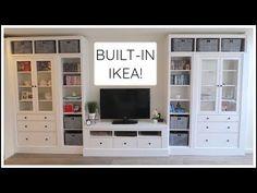 Living Room Ikea Hemnes Built Ins 68 Ideas For 2019 Diy Built In Shelves, Ikea Built In, Building Shelves, Bookshelves Built In, Built In Cabinets, Built In Tv Cabinet, Built In Tv Wall Unit, Basement Built Ins, Ladder Shelves