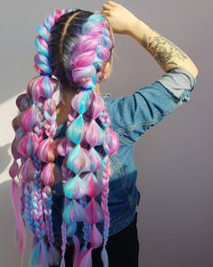 Super cute puffy pastel braids by @hair_pavlova - try our Petal Pink + Amethyst + Cyan Sky for a similar look!#lunartides #pastelhair #pinkhair #bluehair