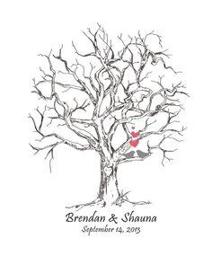 ThumbPrint Fingerprint  Signature Wedding Tree Guest Book Alternative / Gift /  Love Birds