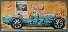 """Bugatti T35: Winner, 1927 Targa Florio.  From the June 1927 Racing News:. """"When the well known Italian driver, Materassi, dashed home a winner of the 1927 Targa Florio, he secured the third win running in this race for Bugatti, and incidentally completely vindicated the principles of the Molsheim manufacturer. Ettore Bugatti has always adhered to his principle of building racing cars to sell to the public, and entering these cars, and these cars only, in races."""" Artwork by T. Upson"""