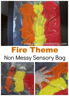Fire No Mess Sensory Bag: While there are plenty of times I let the kids dig in and make a mess sometimes I need a fun activity that I can keep contained but lets the little ones play and explore. Community Helpers Lesson Plan, Community Helpers Activities, Classroom Crafts, Preschool Activities, Space Activities, Preschool Art, Fire Safety Crafts, Fireman Crafts, Fire Truck Craft