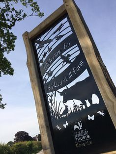 The Bickley hall Farm sign for Cheshire wildlife trust. Adrian designed this from the initial client concept sketch and it was waterjet cut from 8mm thick steel plate all done in house.
