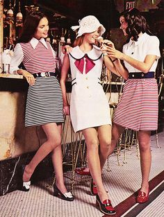 """February 1972. """"Head for the spring — shine in our new wave of red, white and blue."""" ~ EV clothing"""