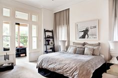 simple white and black bedroom