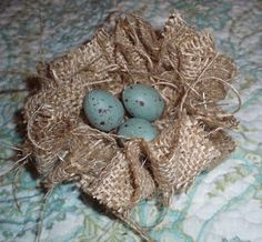 Burlap nest; replace eggs with ...anything that says fall.