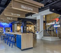 As Capital One transforms its retail properties, the bank invited CallisonRTKL to create a signature branch for their prominent location at Union Square, New Commercial Bank, Commercial Interiors, Commercial Design, Bank Interior Design, Banks Office, Capital One, Union Square, Environmental Design, Retail Space