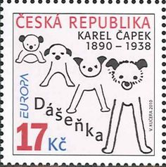 Czech Republic stamp - Dasenka, beloved dog made famous by the children's book by Karel Capek Going Postal, Stamp Collecting, Mail Art, Czech Republic, Postage Stamps, Childrens Books, Poster, Lettering, Retro
