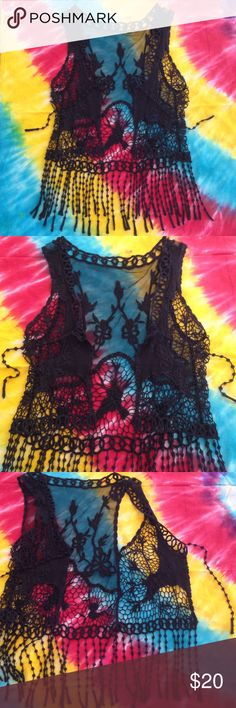 Black Vest Sheer and black crochet style vest. Great condition. 👍 super cute!😎 Tops