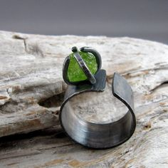 Raw Peridot Sterling Silver Ring. Wow!