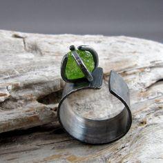 Raw Peridot Sterling Silver Ring. Wow!