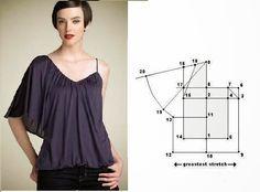 Blusa linda e discreta. Depois de imprimir o molde base de blusa neste link é fácil fazer a transformação do modelo que está na imagem. Para fazer esta blu