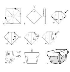 Cesta de papel. Plegado de papel. Origami