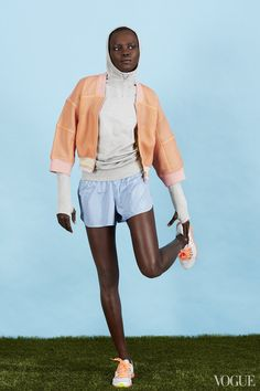 January 25 - Hurdles do leaps and bounds for your thighs. Do some in a retro look worthy of an 80s high school flick.Grace Bol an Adidas by Stella McCartney jacket, Nike top, Old Navy shorts, Under Armour shoesAdidas by Stella McCartney Studio bomber jacket, $300For information: net-a-porter.comNike Pro Hyperwarm fitted seamless pullover, $125nike.comActive by Old Navy perforated shorts, $15For information: oldnavy.comUnder Armour UA Micro G Mantis running shoes in Elemental…