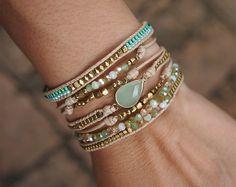 Bracciale di strato verde mix, Boho bracciale, braccialetto di perline, regalo nuziale