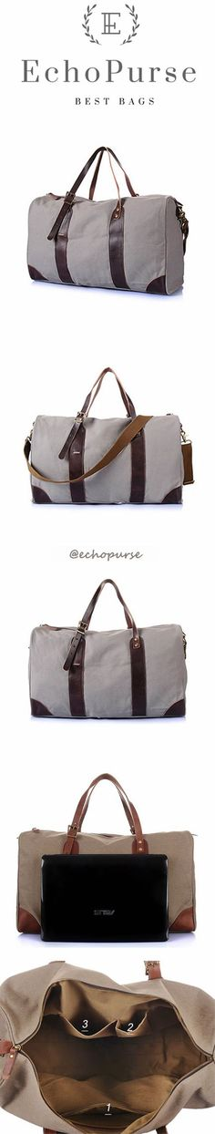 Canvas Luggage Bag, Large Overnight Bag, Grey Travel Bag For Men YD095