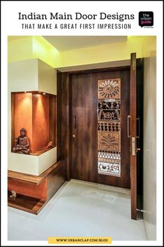 Nothing makes a great first impression of your home like a beautiful front door. Here's our curation of the 15 best Indian main door designs for you! Main Entrance Door Design, Wooden Main Door Design, Door Gate Design, Front Door Design, Entrance Foyer, Entry Doors, Front Doors, Pooja Room Door Design, Door Design Interior